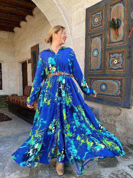 Yağlı Boya Desen Mavi Viskon Elbise