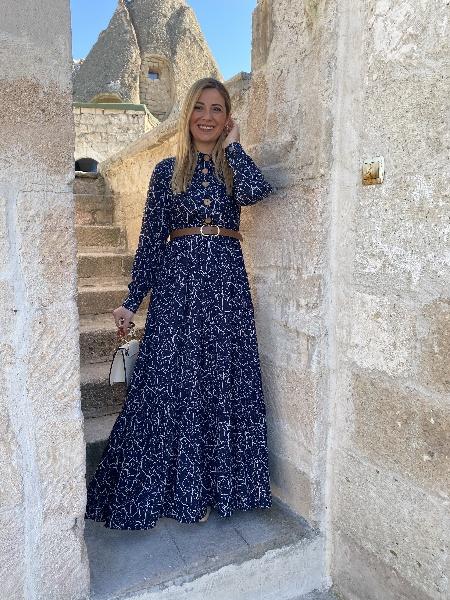 Lacivert Renk Çizgili Detay Vintage Elbise