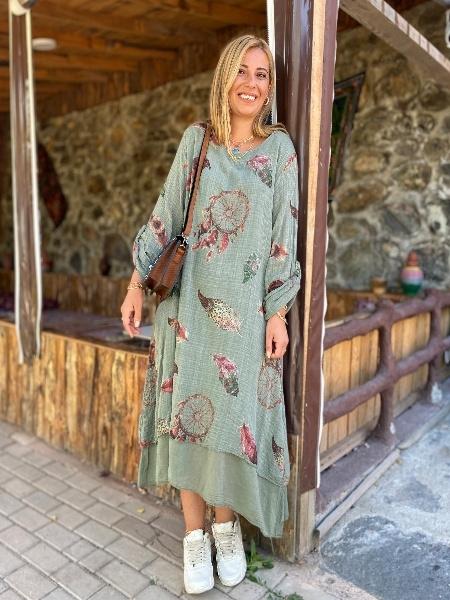 Tüy Desen Detaylı Haki Keten Elbisi