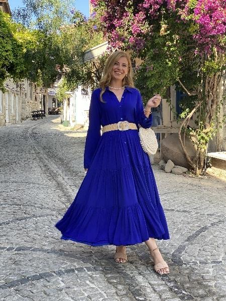 Uzun Kollu Önden Düğmeli Saks Mavi Gömlek Elbise