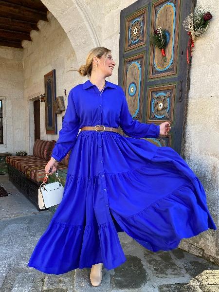 Saks Mavi Uzun Kollu Önden Düğmeli Viskon Elbise
