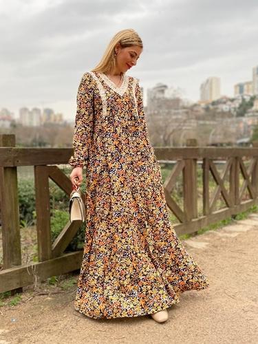 Yaka İşlemeli Viskon Elbise - Thumbnail